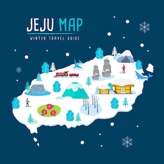 Carte de voyage d'hiver de l'île de jeju