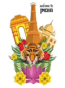 Carte de voyage de l'inde avec le tigre et les fleurs de porte de delhi