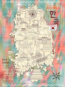 Carte de voyage à la mode en corée du sud avec de nombreuses attractions - corée en mots coréens en haut à droite