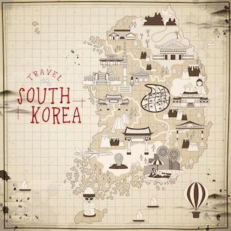 Carte de voyage rétro en corée du sud dans un style plat