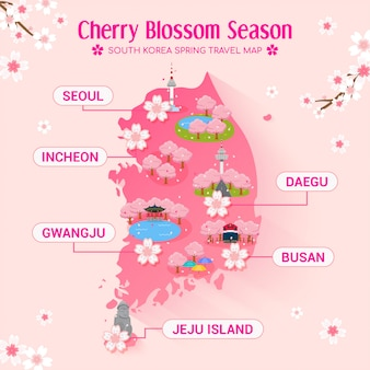 Carte de voyage de la saison des cerisiers en fleurs en corée du sud