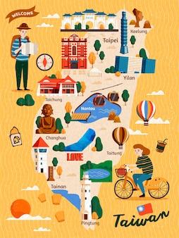 Carte de voyage de taiwan, attractions de style dessinés à la main et spécialités avec deux voyageurs