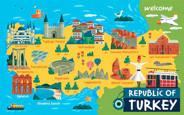 Carte de voyage en turquie et mots turcs pour le château de coton sur le côté gauche, la ville du safran au milieu et les ruines d'ani sur le côté droit