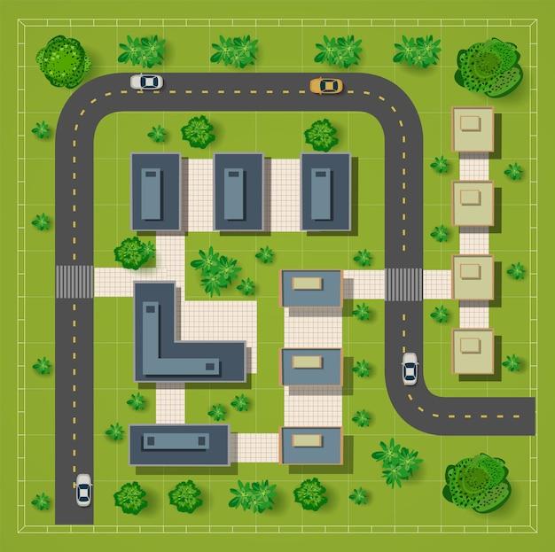 Carte d'une vue de dessus des toits