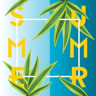 Cartel de verano con plantas verdes