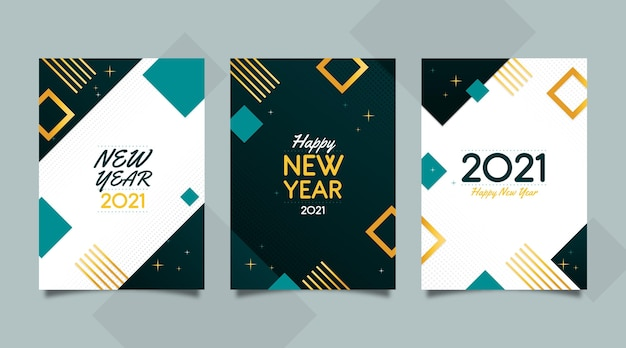 Cartes abstraites du nouvel an 2021