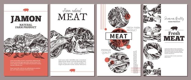 Cartes, affiches ou étiquettes pour viande de ferme naturelle avec illustration de jambon dessiné à la main