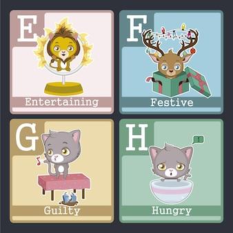 Cartes alphabétiques avec design animal de e à h