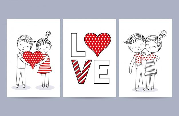 Cartes d'amour avec couple