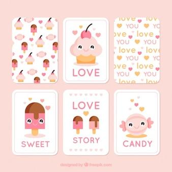 Cartes d'amour avec de délicieux desserts