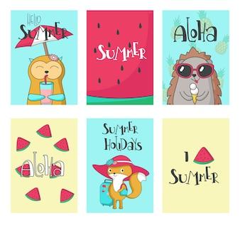 Cartes d'animaux d'été vector illustration dessinée à la main