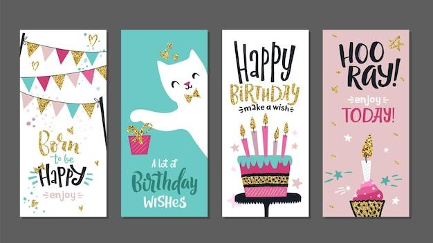 Cartes d'anniversaire. affiches cadeaux, modèle de bannières de salutations mignonnes. conceptions de typographie d'art avec lettrage et ensemble de vecteurs d'éléments de paillettes dorées. titre d'anniversaire de cadeau, illustration de carte postale de célébration
