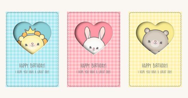 Cartes d'anniversaire avec des animaux de dessin animé premium
