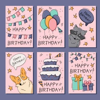 Cartes d'anniversaire avec des animaux