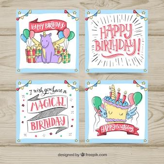 Cartes d'anniversaire colorées dessinés à la main
