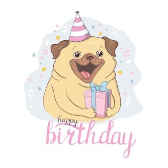 Cartes d'anniversaire sertie de chiens de dessin animé mignon.