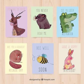 Cartes d'aquarelle avec des animaux amusants