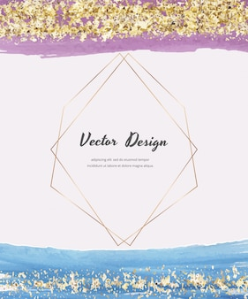 Cartes aquarelle avec texture de paillettes d'or, confettis et cadres de lignes polygonales géométriques. conception de couverture abstraite moderne.