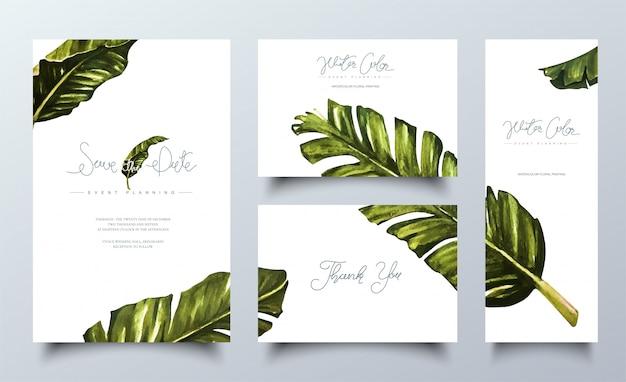 Cartes Aquarelles Tropicales. Vecteur Premium