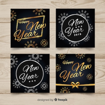 Cartes d'argent et d'or du nouvel an 2019