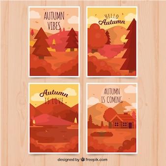 Cartes d'automne avec de beaux paysages