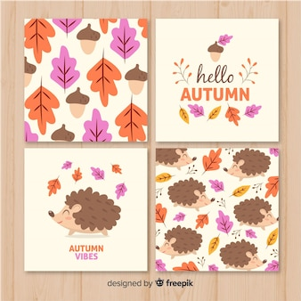 Cartes d'automne dessinées à la main collectio
