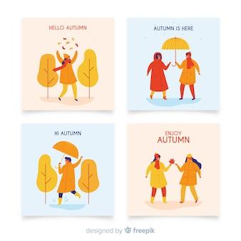Cartes d'automne dessinées à la main collectio