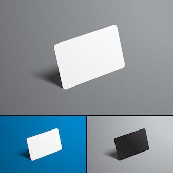 Cartes bancaires sur gris et bleu