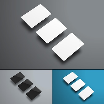 Cartes bancaires planant sur gris et bleu