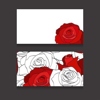 Cartes bissness double face avec roses blanches et rouges peintes
