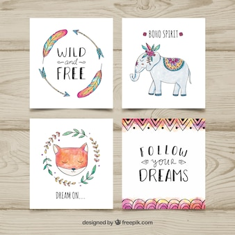 Cartes boho aquarelle