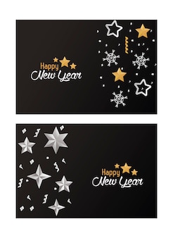 Cartes de bonne année avec des étoiles d'argent et des flocons de neige illustration