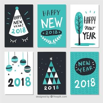 Cartes de bonne année en noir, blanc et turquoise
