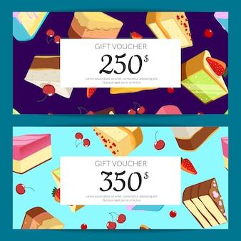 Cartes-cadeaux, des réductions ou des bons avec des morceaux de gâteau, des cerises et des fraises sur
