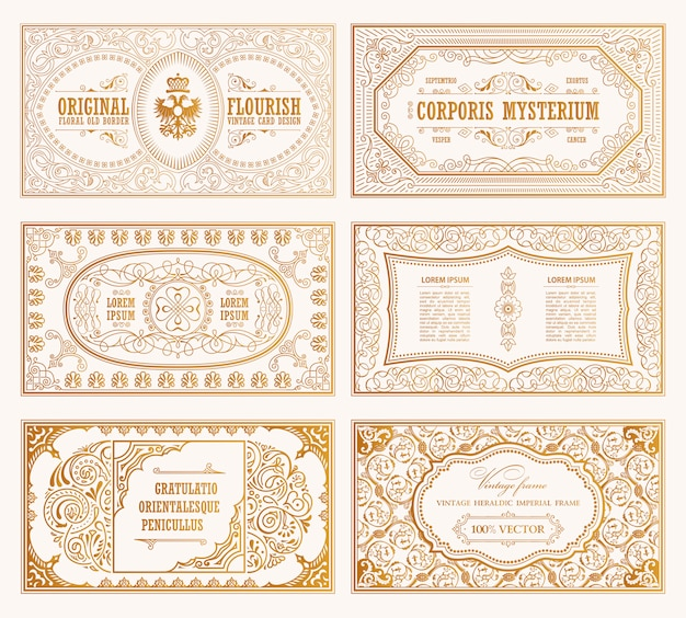 Cartes et cadres en or vintage
