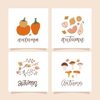 Cartes carrées d'humeur d'automne avec des compositions naturelles d'automne de feuilles de champignons brindilles de baies et de pompe...