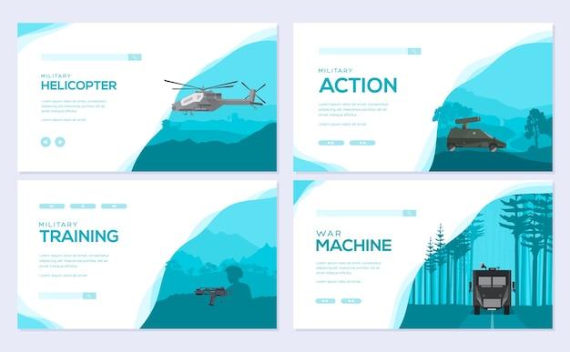 Cartes de cartes d'équipement militaire. modèle d'armée de flyear, magazines, affiches, concept de livre.