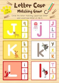 Cartes clip animal correspondant au jeu de lettre cas