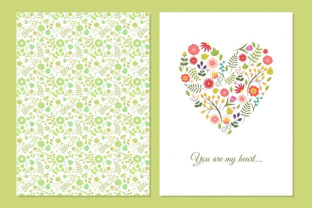 Cartes de coeur floral vintage mignon