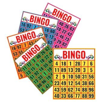 Cartes colorées de bingo isolés sur blanc
