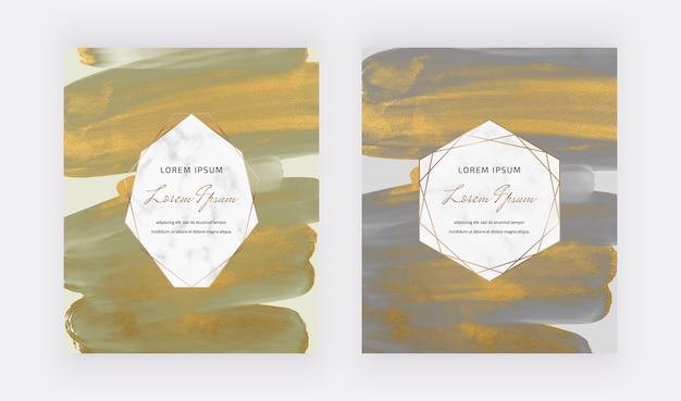 Cartes de conception aquarelle coup de pinceau vert et gris avec des cadres géométriques en marbre.