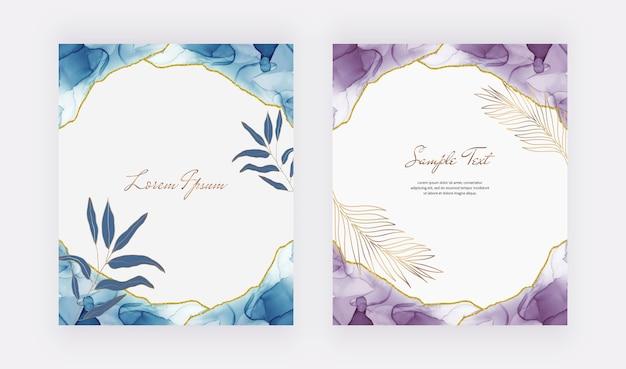 Cartes de conception d'encre d'alcool bleu et violet