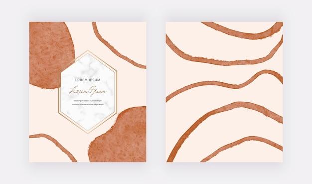 Cartes de conception de formes de lignes de coup de pinceau à main levée boho