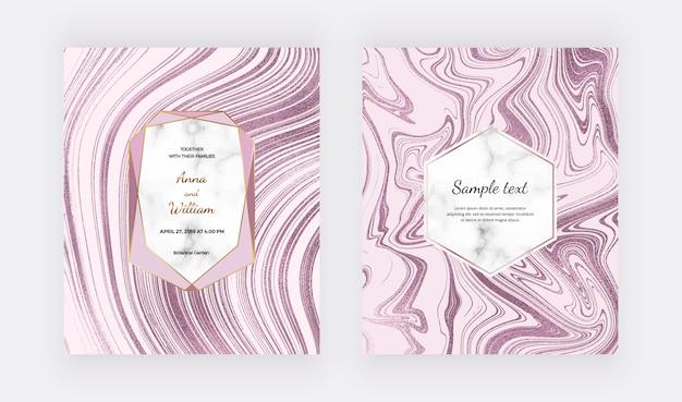 Cartes de conception en marbre liquide en or rose. peinture à l'encre motif abstrait de paillettes