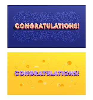 Cartes créatives avec typographie de félicitations sur deep blue et memphis style