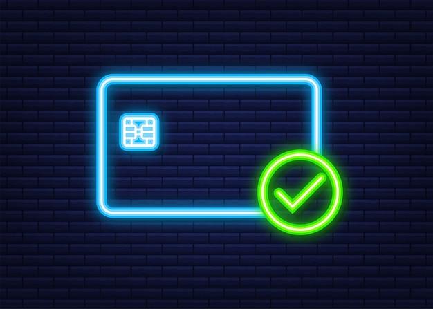 Cartes de crédit avec approuvé. chèque de transfert de sécurité financière. symbole de transaction. icône néon. illustration vectorielle.