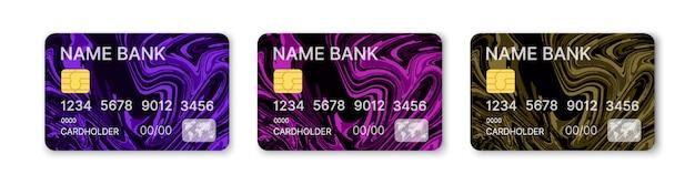 Cartes de crédit définies vecteur modèle multicolore