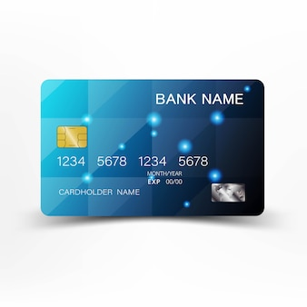 Cartes de crédit détaillées bleu réalistes.