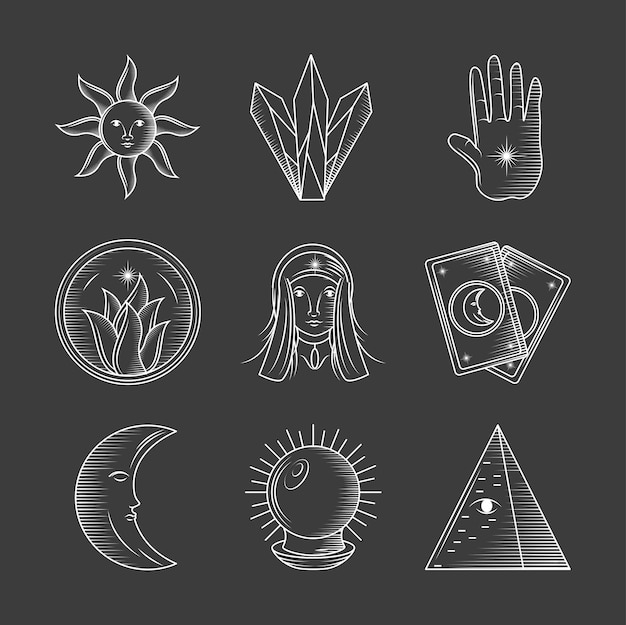 Cartes de cristaux de soleil magiques d'astrologie