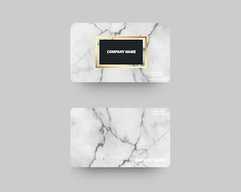 Cartes de visite élégantes avec texture de marbre et or